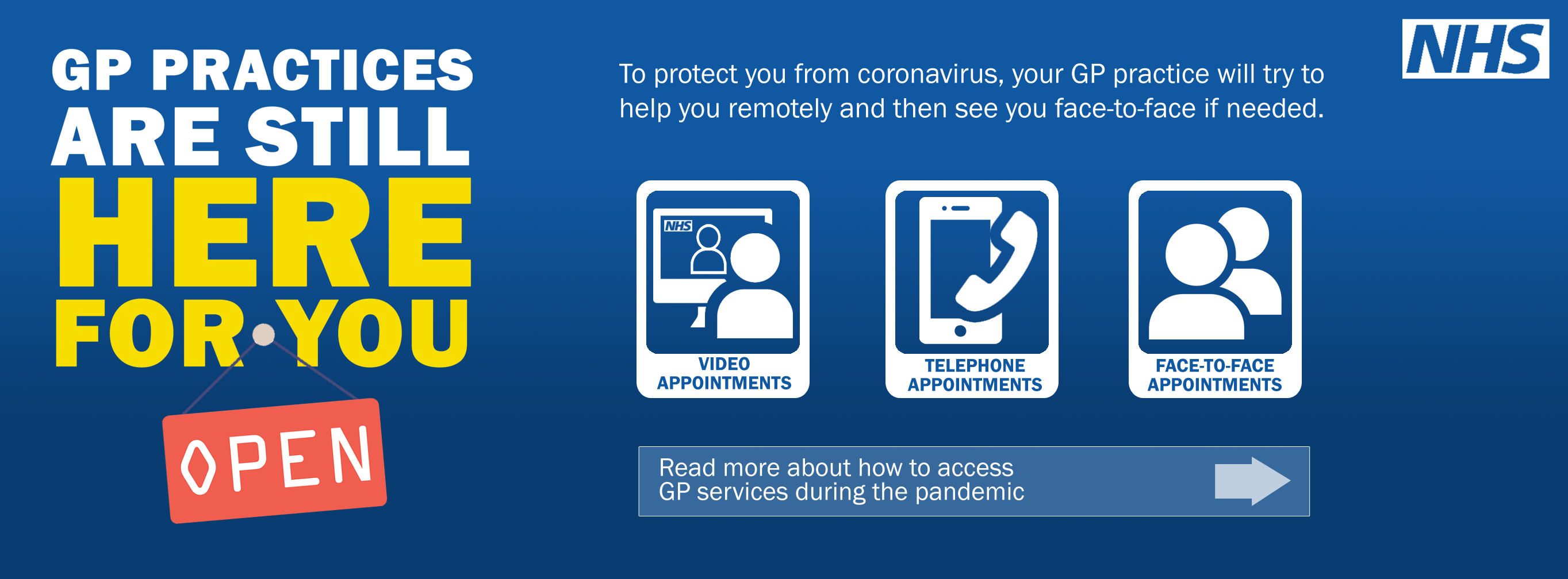 GP practices are still here for you. To protect you from coronavirus, your GP practice will try to help you remotely and then see you face-to-face if needed.