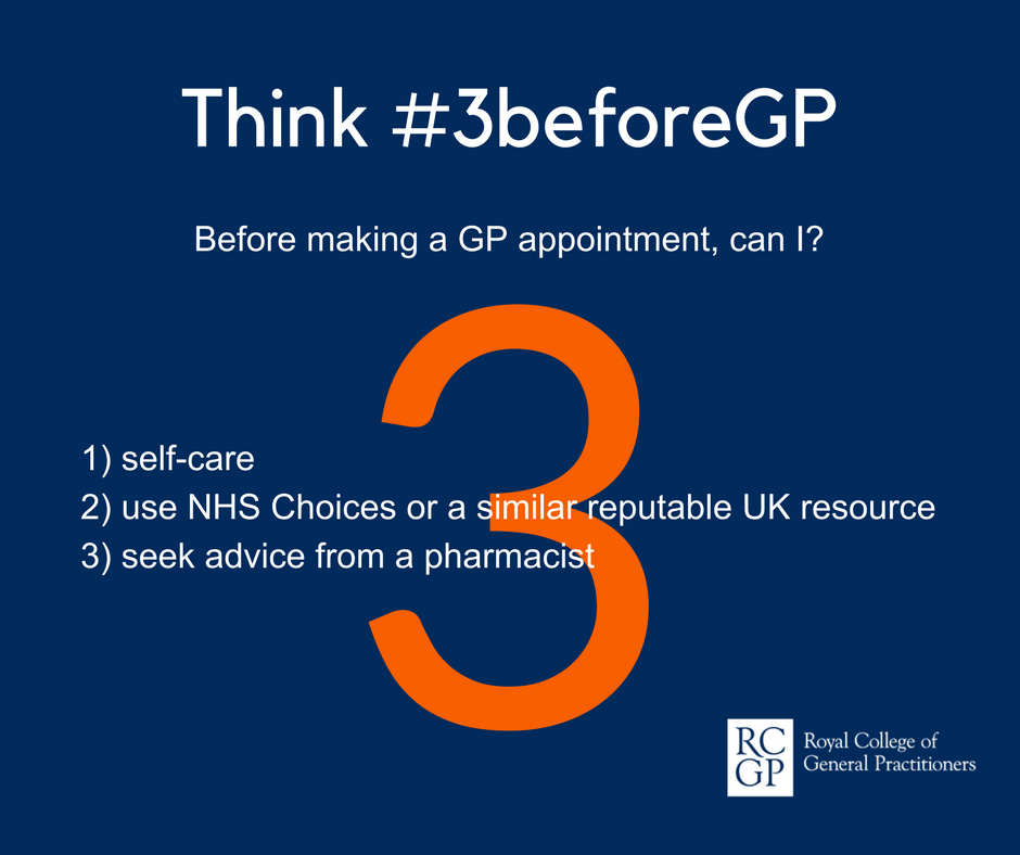 Think #3beforeGP. Before making a GP appointment, can I 1. self-care. 2. use NHS Choices or a similar reputable UK resource. 3. seek advice from a pharmacist